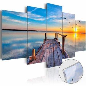 Afbeelding op acrylglas - Meer van herinneringen, steiger, Blauw/Geel,   5luik