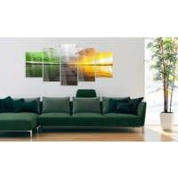 Afbeelding op acrylglas - Grens van de zomer, Groen/Geel,   5luik