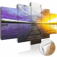 Afbeelding op acrylglas - Weg naar de wolken, Paars/Geel,   5luik
