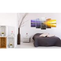 Afbeelding op acrylglas - Weg naar de wolken, Paars/Geel, 2 Maten, 5luik
