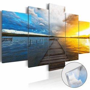 Afbeelding op acrylglas - Steiger naar je dromen, Blauw/Geel,   5luik