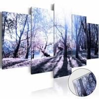 Afbeelding op acrylglas - Bos in de herfst, Paars/Grijs, 2 Maten, 5luik