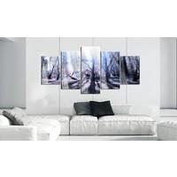 Afbeelding op acrylglas - Bos in de herfst, Paars/Grijs,   5luik