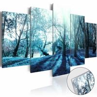 Afbeelding op acrylglas - Mysterieus bos, Blauw, 2 Maten, 5luik