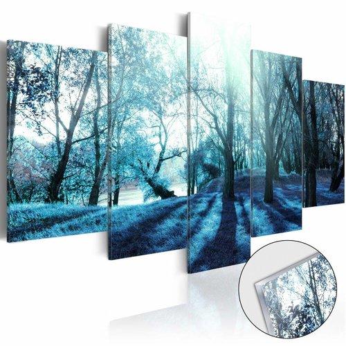 Afbeelding op acrylglas - Mysterieus bos, Blauw,  5luik