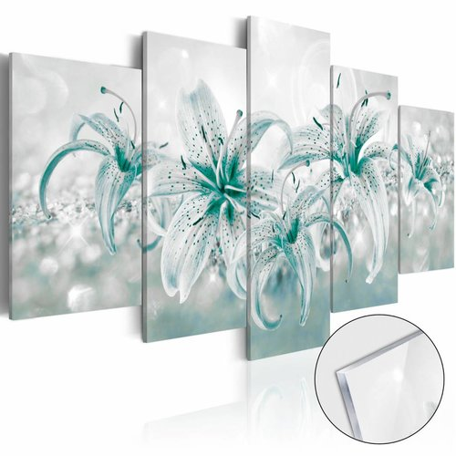 Afbeelding op acrylglas - De lelie, Blauw/Wit,   5luik