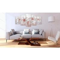 Afbeelding op acrylglas - Wintergezicht, Wit/Rood, 2 Maten, 5luik