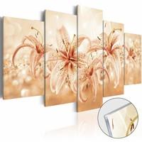 Afbeelding op acrylglas - Lied van de orchidee, Oranje, 2 Maten, 5luik