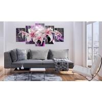 Afbeelding op acrylglas - Paarse inspiratie, Zwart/Paars, 2 Maten, 5luik