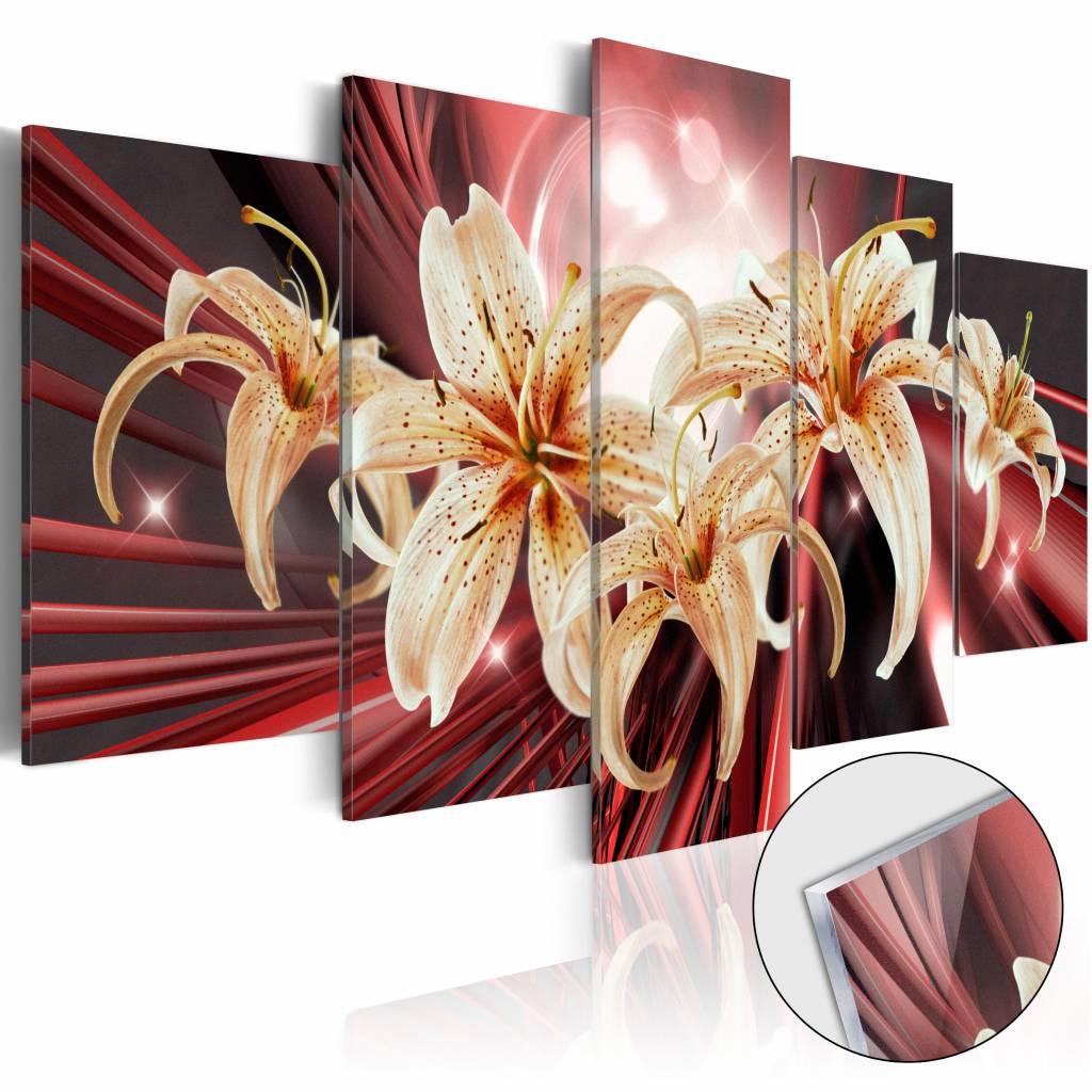 Afbeelding op acrylglas - De magie van de passie, Goud/Rood, 5luik
