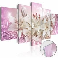 Afbeelding op acrylglas - Roze buiging, Roze/Wit, 2 Maten, 5luik