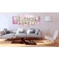 Afbeelding op acrylglas - Roze buiging, Roze/Wit,   5luik