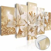 Afbeelding op acrylglas - Gouden boeket, Orchidee, Wit/Goud,  5luik