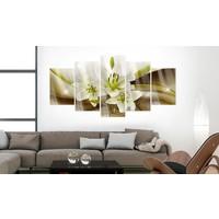 Afbeelding op acrylglas - Lelie in het groen, Groen/Bruin,   5luik