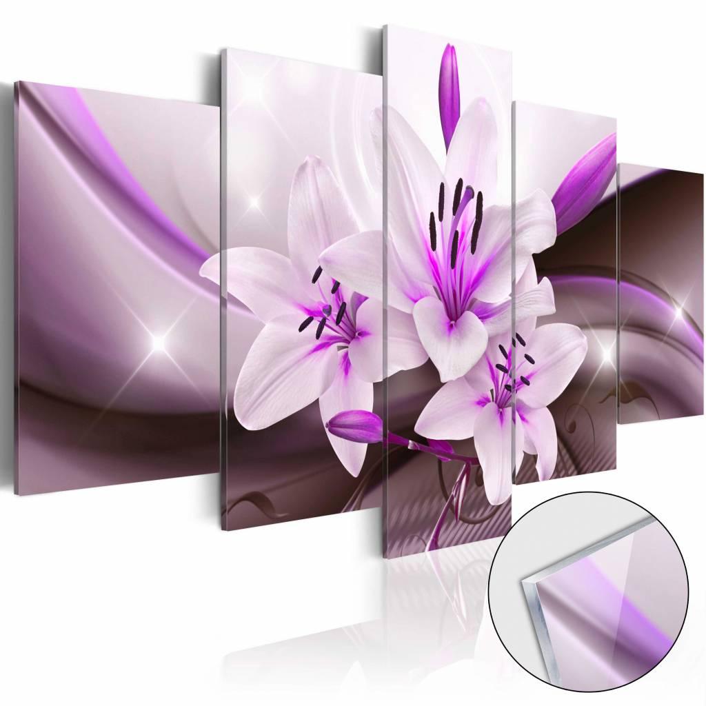 Afbeelding op acrylglas - Lelie in paars, 5luik