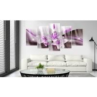 Afbeelding op acrylglas - Lelie in paars, 2 Maten, 5luik