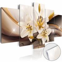 Afbeelding op acrylglas - Lelie, Bruin/Geel, 2 Maten, 5luik