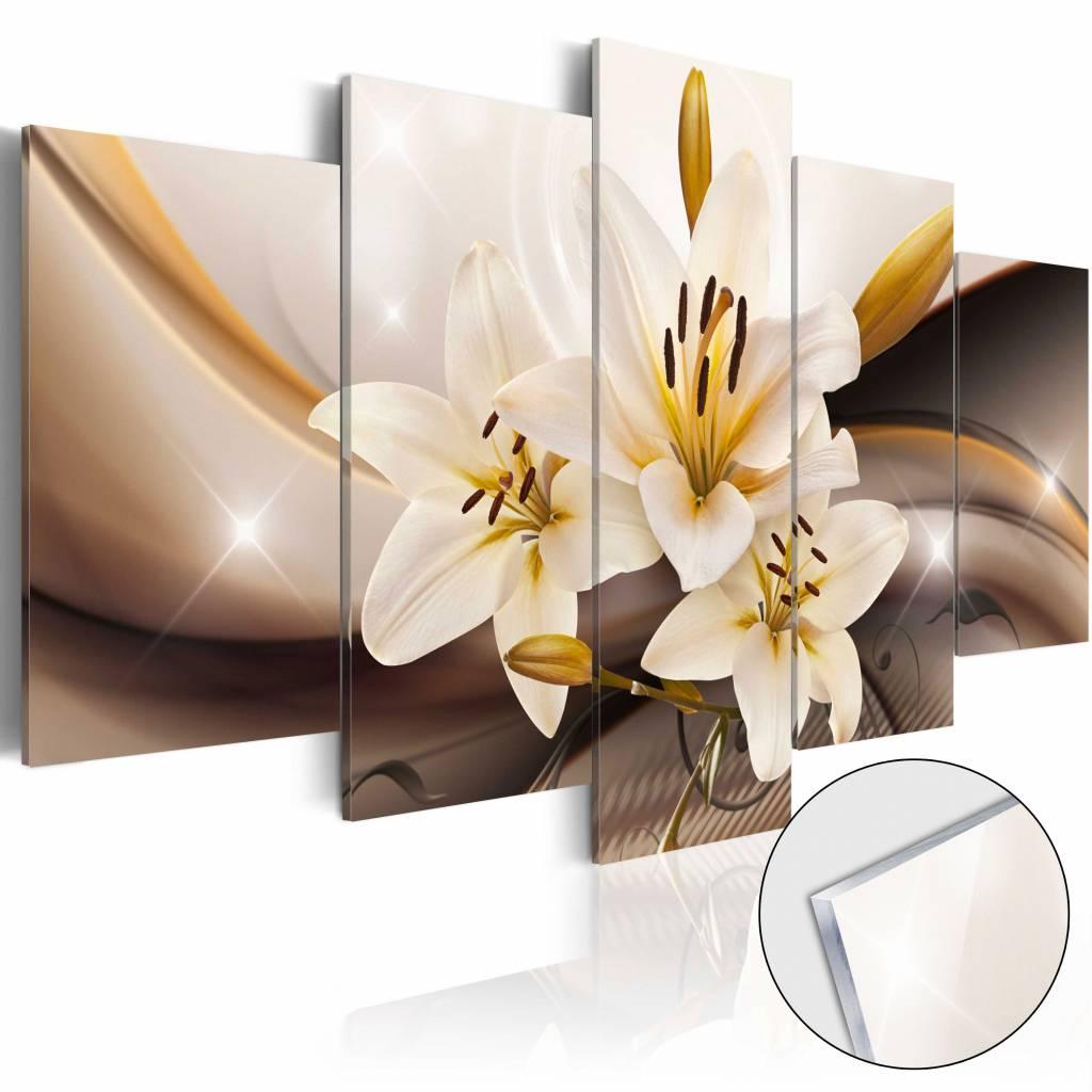 Afbeelding op acrylglas - Lelie, Bruin/Geel, 5luik