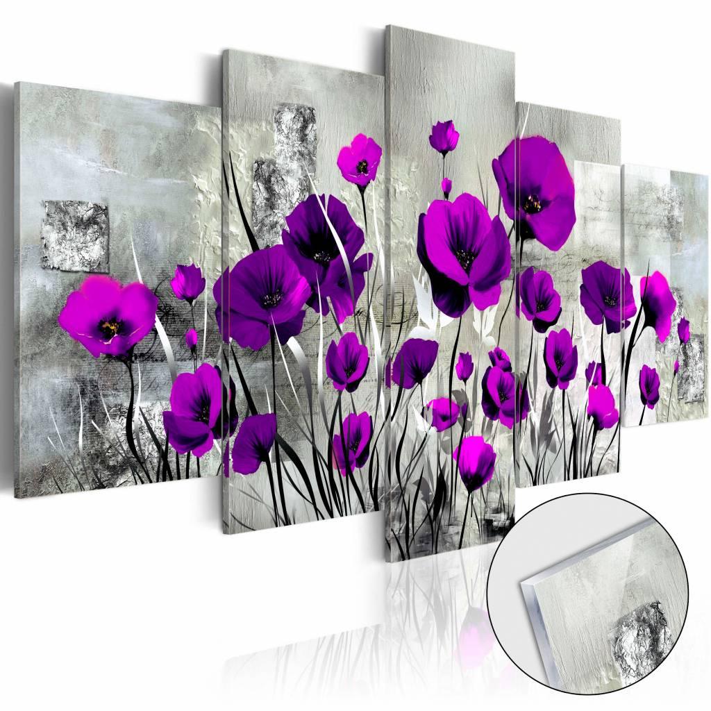 Afbeelding op acrylglas - Paarse klaprozen, Paars/Grijs, 5luik