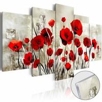Afbeelding op acrylglas - Rode klaprozen, Rood/Beige,  5luik