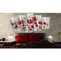 Afbeelding op acrylglas - Rode klaprozen, Rood/Grijs,   5luik