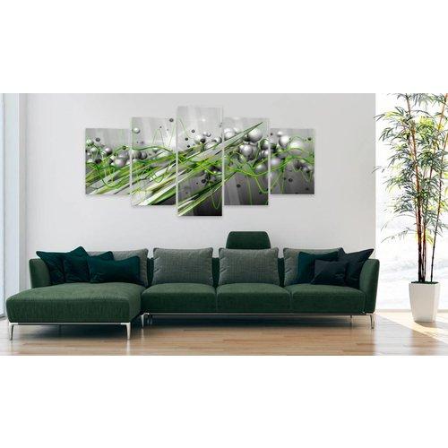 Afbeelding op acrylglas - Groene stroom, Groen/Grijs,  5luik