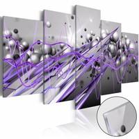 Afbeelding op acrylglas - Paarse stroom, Paars/Grijs, 2 Maten, 5luik