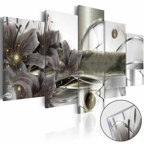 Afbeelding op acrylglas - Space Flowers , Grijs, 2 Maten, 5luik