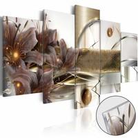 Afbeelding op acrylglas - Tuin in de ruimte, Grijs/Goud,   5luik