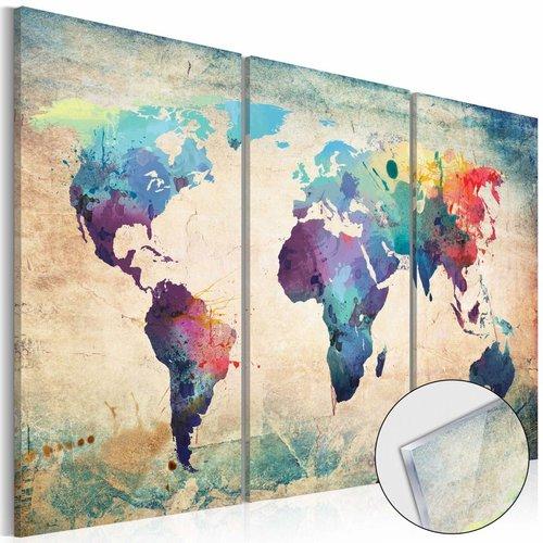 Afbeelding op acrylglas - Regenboog kaart, wereldkaart, Multi-gekleurd, 3luik