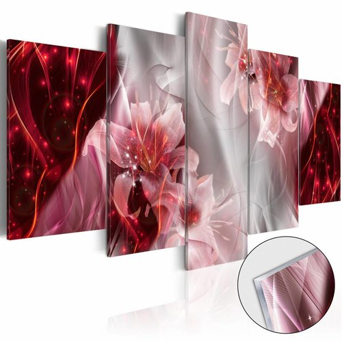 Afbeelding op acrylglas - Orchidee in het rood,  , 5luik