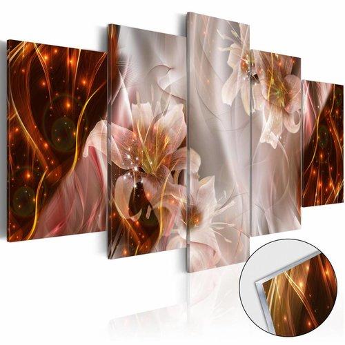 Afbeelding op acrylglas - Stellar Storm , Oranje/Bruin,   5luik