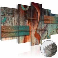 Afbeelding op acrylglas - Abstracte melodie, Rood/Groen,   5luik