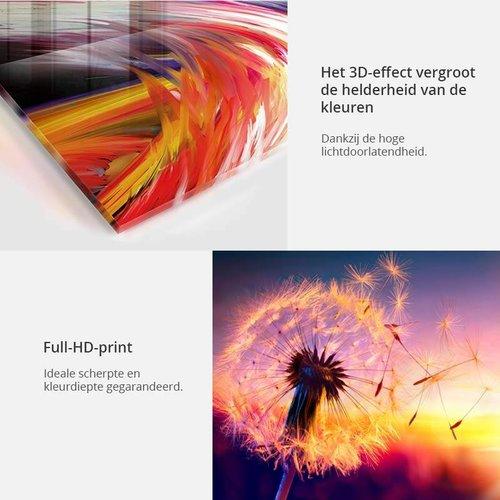 Afbeelding op acrylglas - Abstract in het violet, 2 Maten, 5luik