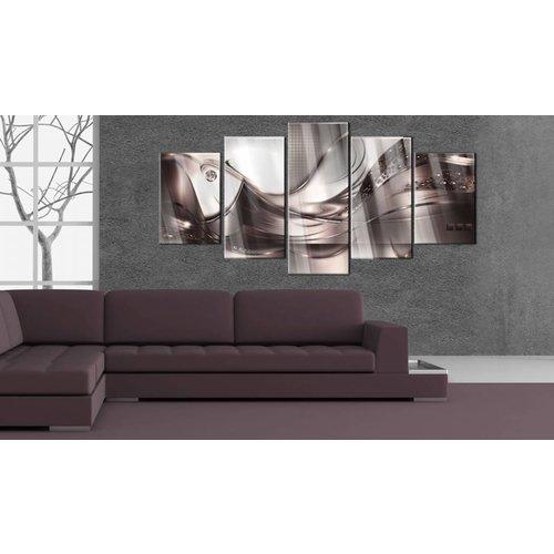Afbeelding op acrylglas - Champagne storm, Bruin/paars,   5luik