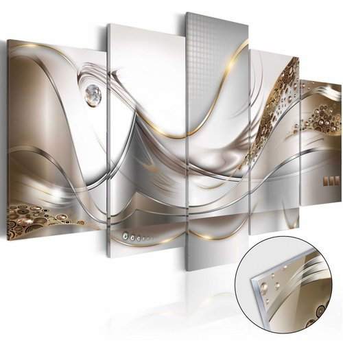Afbeelding op acrylglas - Gouden vlucht, Goud/wit, 2 Maten, 5luik