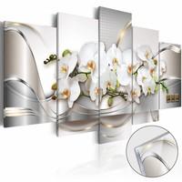 Afbeelding op acrylglas - Oceaan van onschuld, Orchidee, Wit/Grijs,   5luik