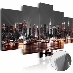 Afbeelding op acrylglas - Prachtige Skyline, Grijs, 5luik