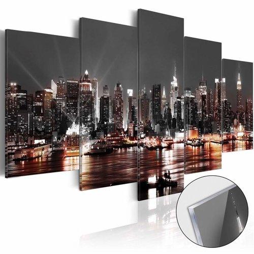 Afbeelding op acrylglas - Prachtige Skyline, Grijs, 2 Maten, 5luik