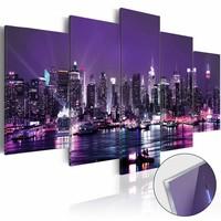 Afbeelding op acrylglas - Skyline met paarse lucht, 2 Maten, 5luik