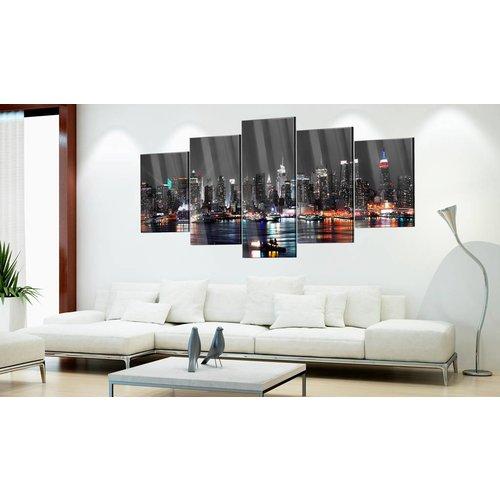 Afbeelding op acrylglas - Skyline in het donker, Grijs,  5luik