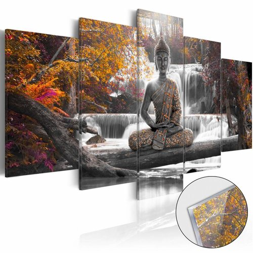 Afbeelding op acrylglas - Boeddha en de waterval, Oranje/Bruin , 5luik