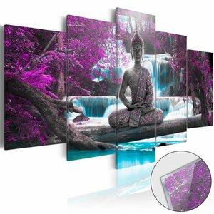 Afbeelding op acrylglas - Boeddha en de waterval, Paars/Blauw,   5luik