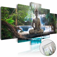 Afbeelding op acrylglas - Boeddha en de waterval, Groen/Bruin/Blauw,   5luik