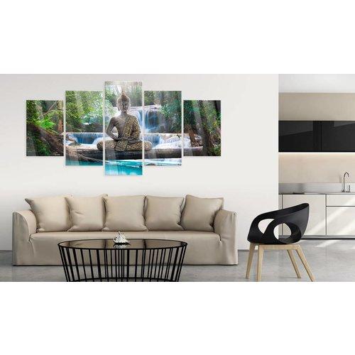 Afbeelding op acrylglas - Buddha and Waterfall [Glass]