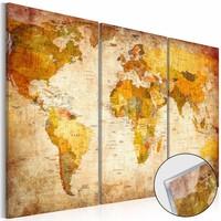 Afbeelding op acrylglas - Antieke reizen, wereldkaart, Bruin,   3luik