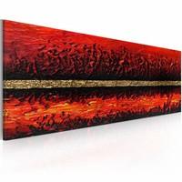 Handgeschilderd schilderij - Vulkaan uitbarsting  100x40cm