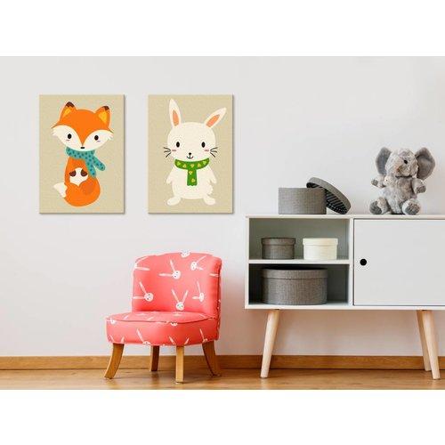 Doe-het-zelf op canvas schilderen - Vos en konijntje  33x23cm