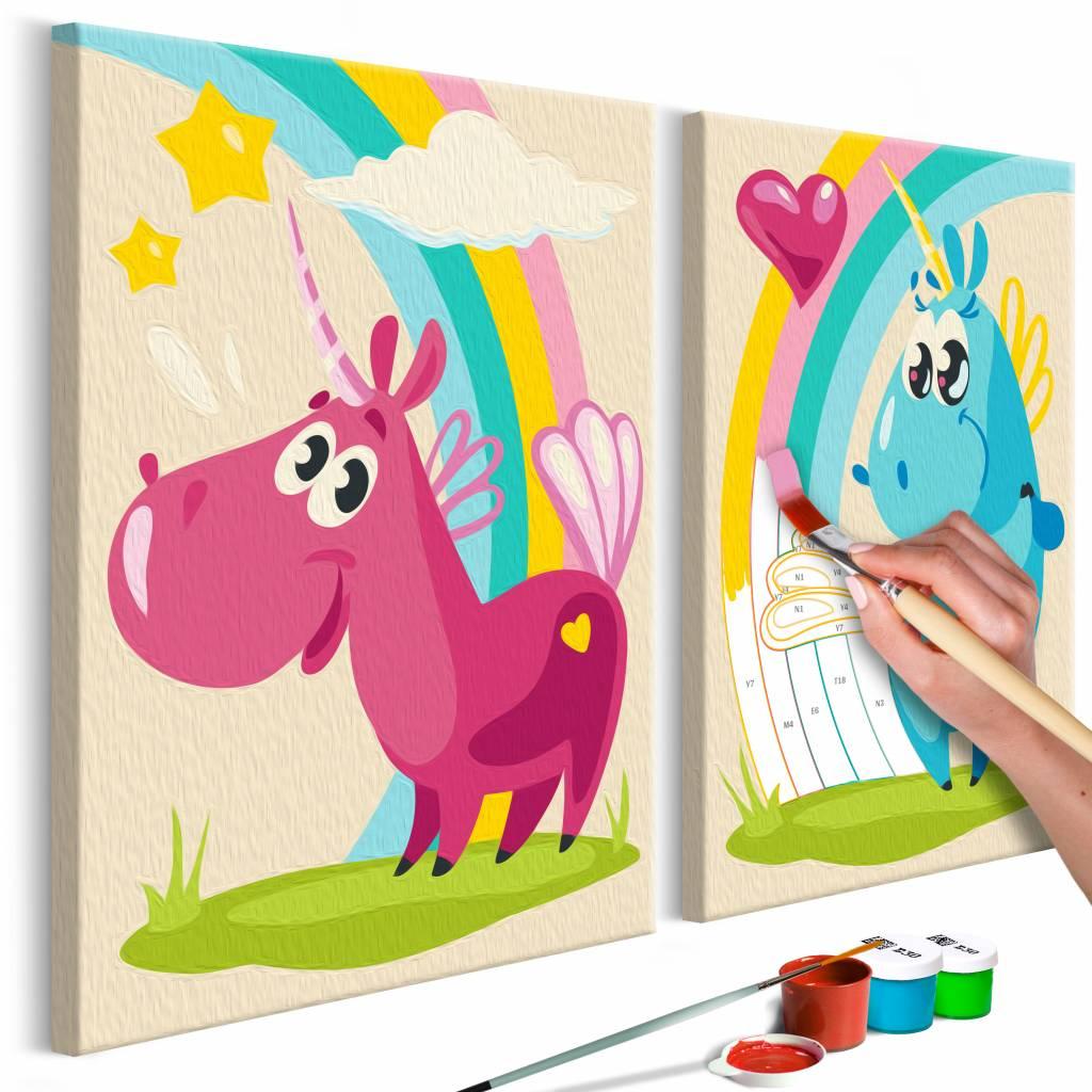 Doe-het-zelf op canvas schilderen - Lieve eenhoorns 33x23cm