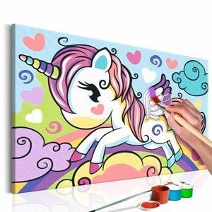 Doe-het-zelf op canvas schilderen - Kleurrijke Eenhoorn 33x23cm